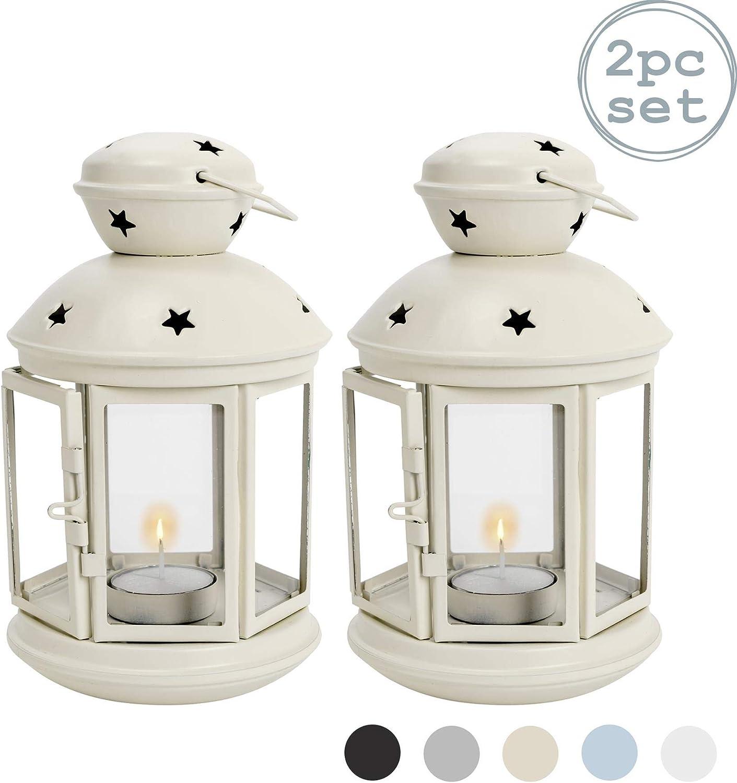 Panna Ambiente Interno//Esterno Nicola Spring Portacandele a Forma di Lanterna 2 Pezzi 20 cm in Metallo Stile Vintage