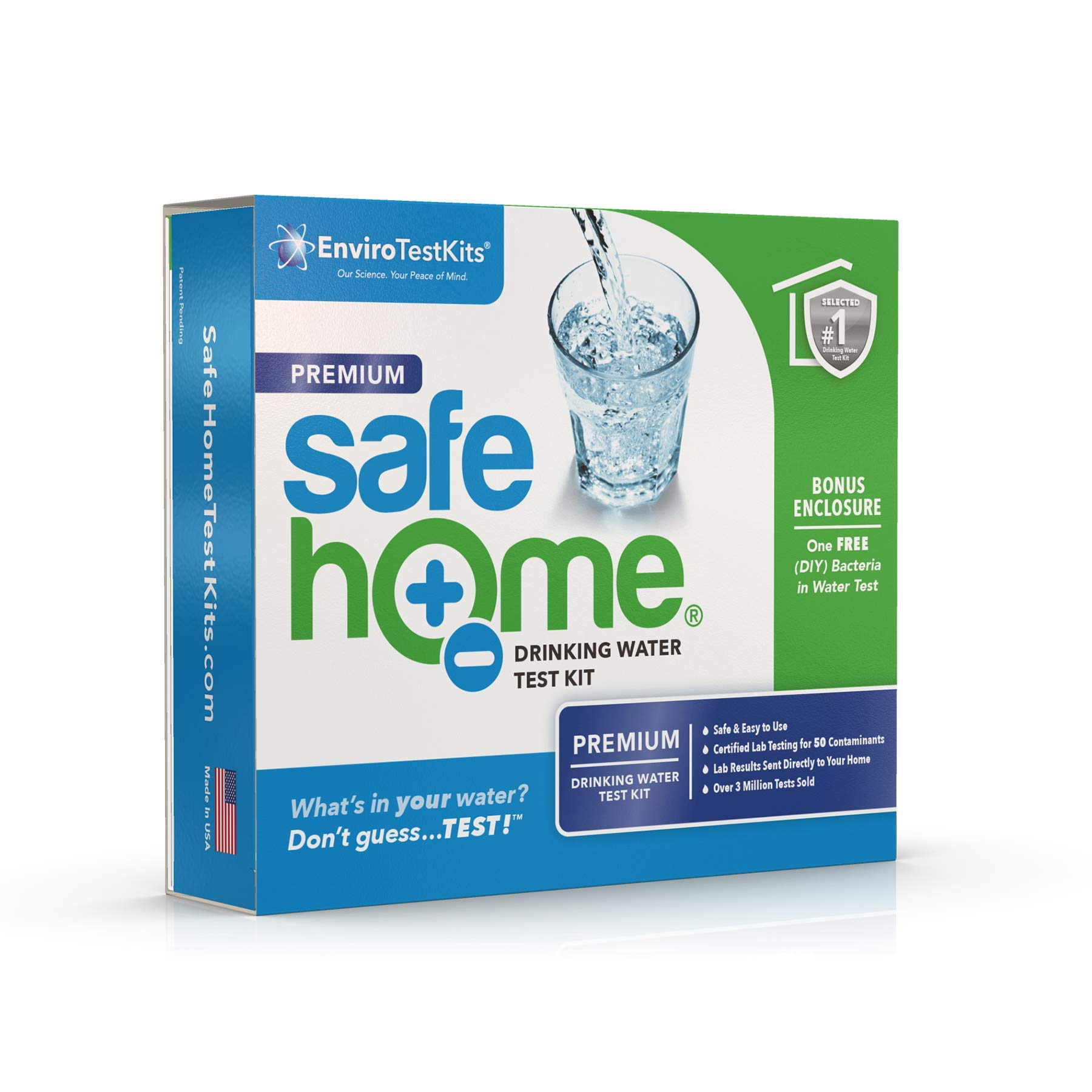 Safe Home PREMIUM Drinking Water Test Kit - Our #1 Selling Kit for Testing CITY & WELL WATER - 50 Contaminants Tested at Our EPA Certified Laboratory - Don't Guess...TEST! by Safe Home