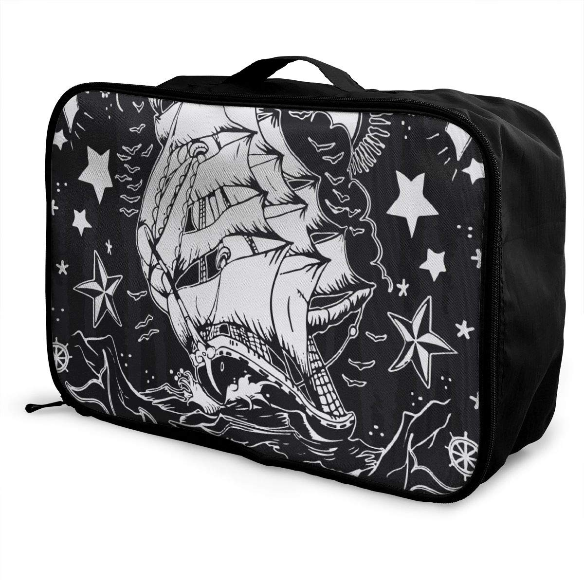 Sailboat With Anchor In Night Sky Travel Lightweight Waterproof Foldable Storage Carry Luggage Duffle Tote Bag Large Capacity In Trolley Handle Bags 6x11x15 Inch