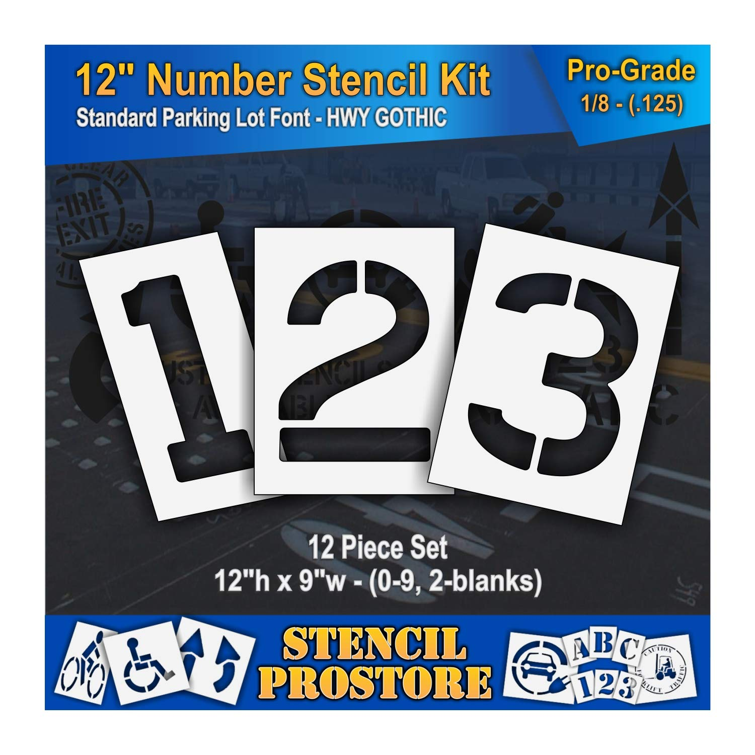Pavement Stencils - 12 inch Number KIT Stencil Set - (12 Piece) - 12'' x 9'' x 1/8'' (128 mil) - Pro-Grade by Stencil ProStore