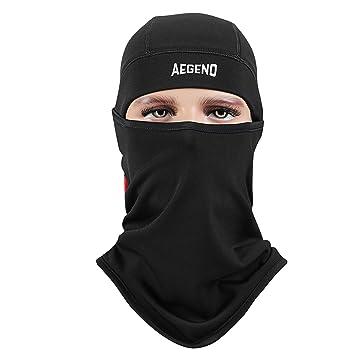Aegend Black (Logo) Balaclava Ski Face Mask Tactical Balaclava Hood ... 73b08ea60