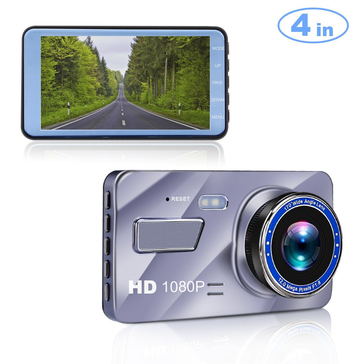 Blusmart Dash Cam, 4'' LCD FHD 1080P 170 Degree Wide Angle Dash Camera for Cars, Dashboard Camera Recorder with Video Sensor, G-Sensor, WDR, Loop Recording【2018 Upgraded】