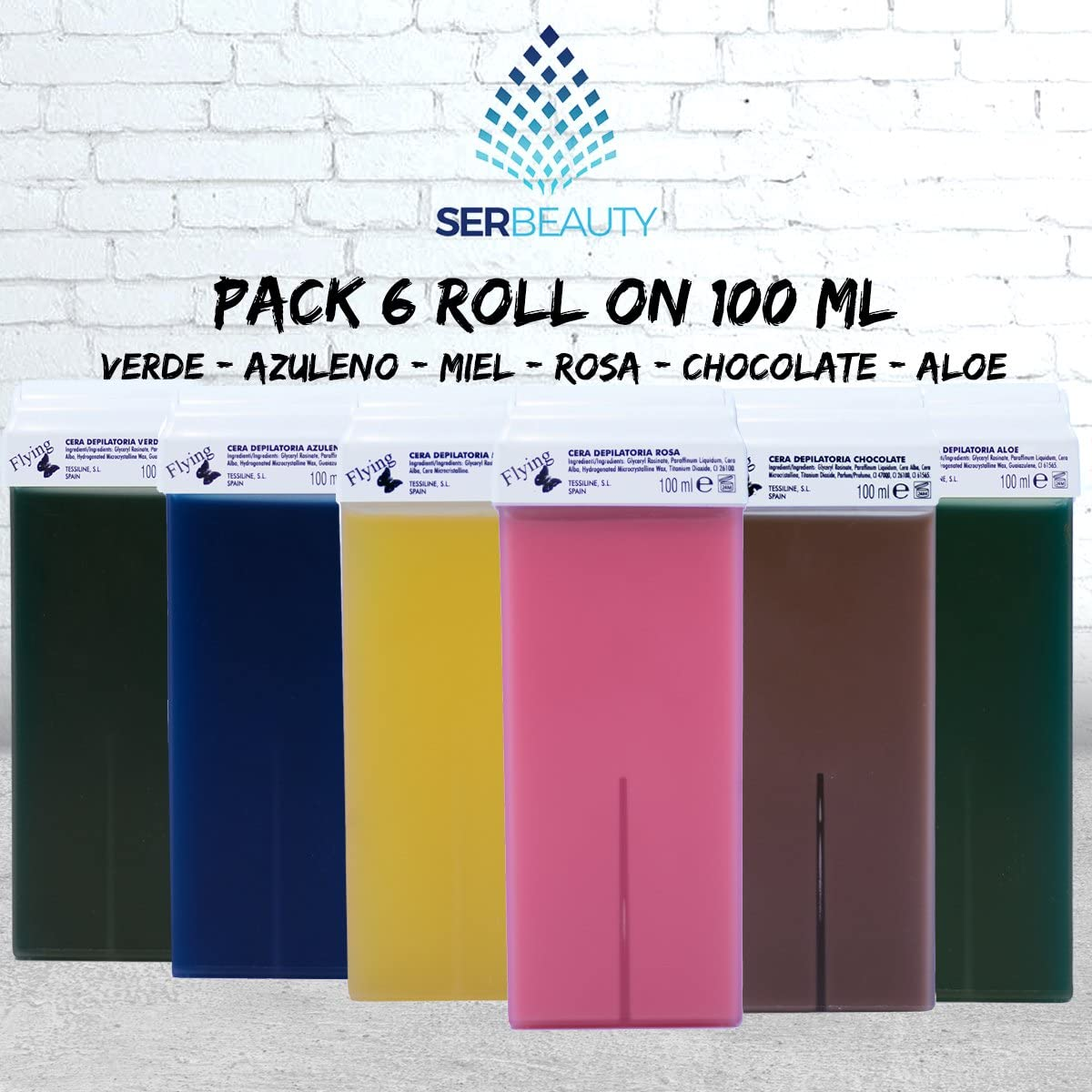 Pack 6 Roll On Cera 100ml/6 diferentes colores/Rosa, Chocolate ...