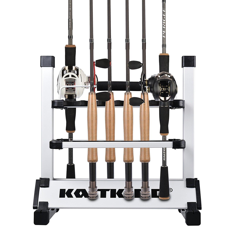 KastKing Rack 'em Up Portable Aluminum Fishing Rod Holder - 12 Rods Rack SilverBlack by KastKing (Image #3)