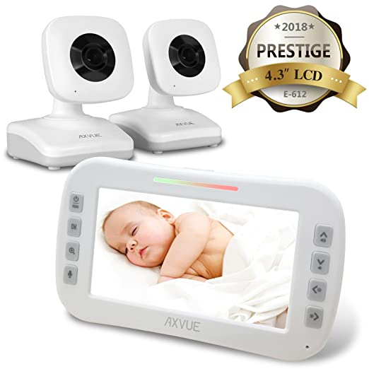 "AXVUE E612 Video Baby Monitor with 4.3"" LCD Screen and Two Cameras, Night Vision, 800 ft. Distance and 8H Battery Life, Auto-Scan, Two Way Talk, View Angle Adj, Power-saving Video ON/OFF"