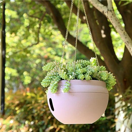 Jardín Macetas – 3L indoogarden macetas – 3L – interior Exterior plástico cuenco forma Auto Riego maceta macetas con cadenas para colgar gancho (blanco): Amazon.es: Jardín