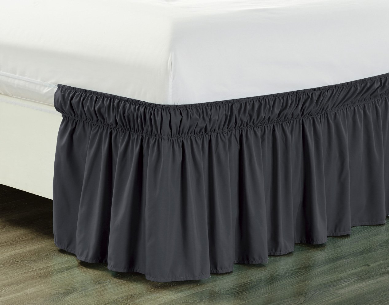 Wrap Around 21'' inch long fall GREY Ruffled Elastic Solid Bed Skirt Fits All QUEEN, KING and CAL KING size bedding High Thread Count Microfiber Dust Ruffle, Soft & Wrinkle Free.