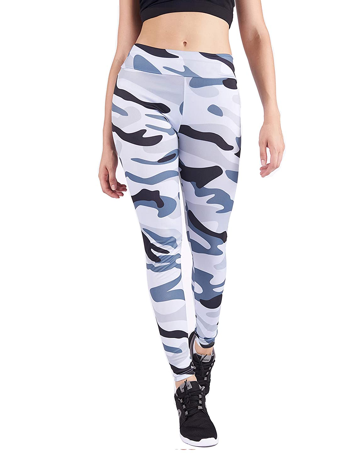 Ccamouflage Green DrKr High Waist Yoga Pants Tummy Control Workout Leggings for Women