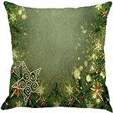 Christmas Pillow Case,Beautyvan Christmas Linen Square Throw Flax Pillow Case Decorative Cushion Pillow Cover (4~C)