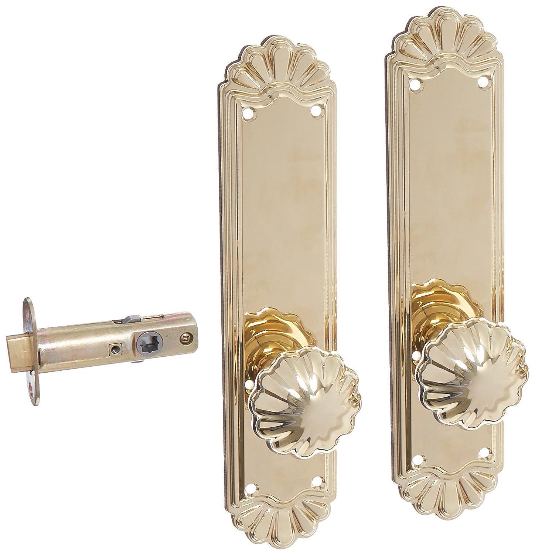 Doorsets. Trenton Door Set With Fluted Brass Knobs Privacy In Satin Nickel