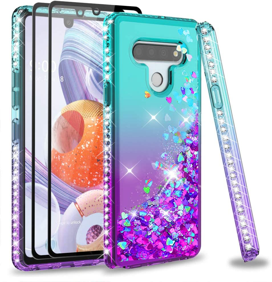 LG Stylo 6 Phone Case with Tempered Glass Screen Protector [2Pack] for Girls Women, LeYi Glitter Bling Sparkle Diamond Quicksand Cute Clear Protective Phone Case for LG Stylo 6, Gradient Teal/Purple