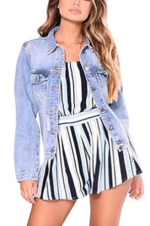 e91485cb0ab Women s Long Sleeve Plus Size Classic Denim Jacket Short Coat at Amazon  Women s Coats Shop