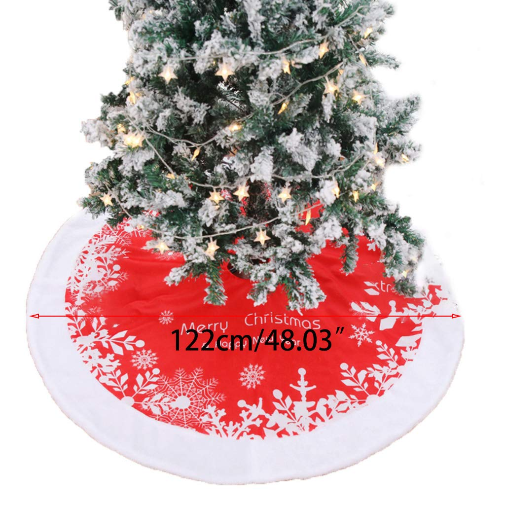 MOMU 48 Inch Double Layer Plush Christmas Tree Skirt Red White Snowflake Letters Printed Xmas Circle Apron for Holiday Party Decor