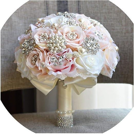 Amazon Com H S Bridal Round Blush Wedding Bouquet Teardrop