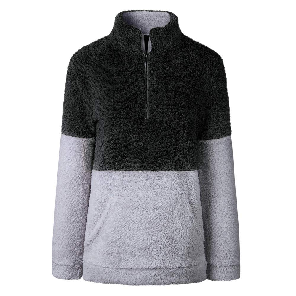 St.Dona Sherpa Quarter Zip Pullover Fluffy Fleece Sweatshirt Pullover Outwear Unisex Fit and Two-Toned 100/% Polyester