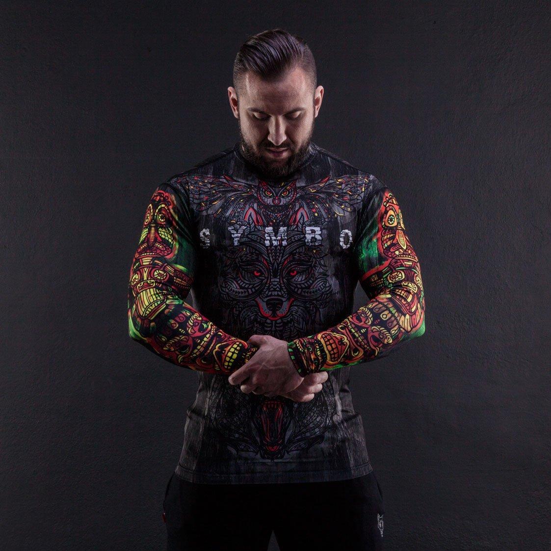 Symbo T-Shirt Herren Rashguard Totem thermoaktiv Kompression Sport Fitness Training Kampfsport MMA Langarm