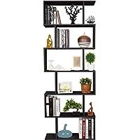 Homfa S-Form Bücherregal Raumteiler Regal Standregal Ablageregal Büroregal Aktenregal Wandregal für Diele, Flur, Büro mit 6 Ablagen 190.5 * 70 * 23.5 cm (H x B x T)