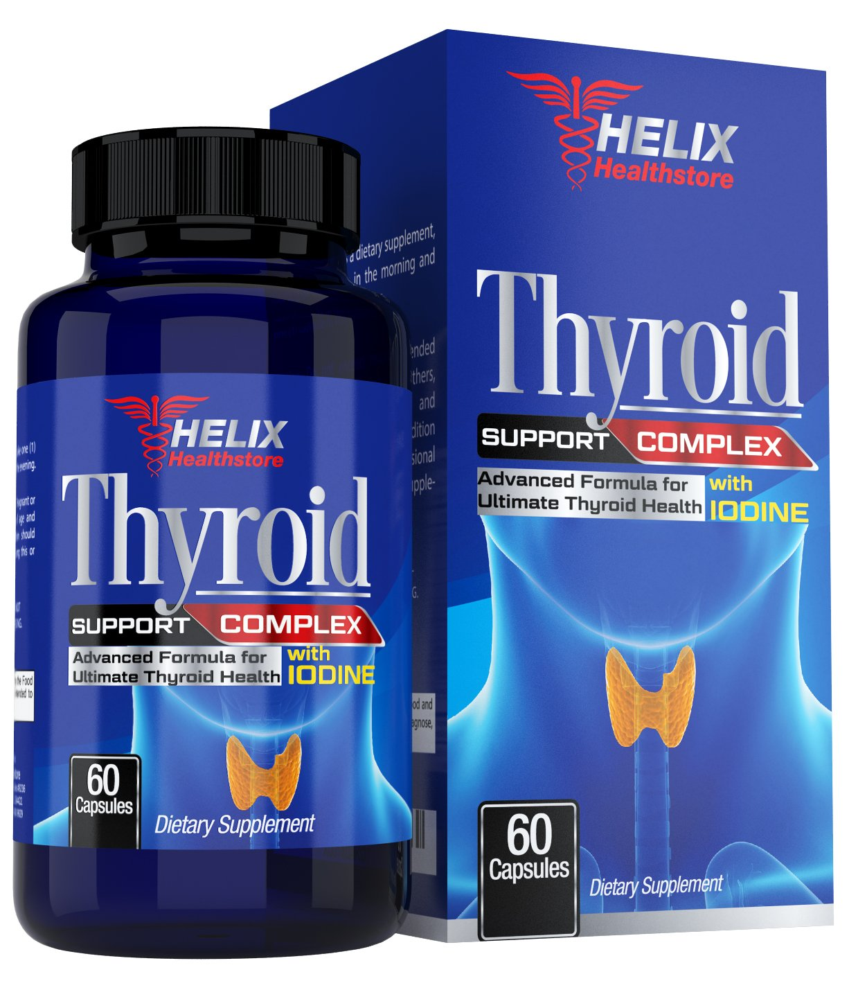 Thyroid Support Supplement with Iodine Kelp and Vitamin B12 for Energy Pills - Best Metabolism Booster for Weight Loss - Ashwagandha, Zinc, Selenium Complex Formula for Hormone Balance, Memory, Focus by Helix Healthstore
