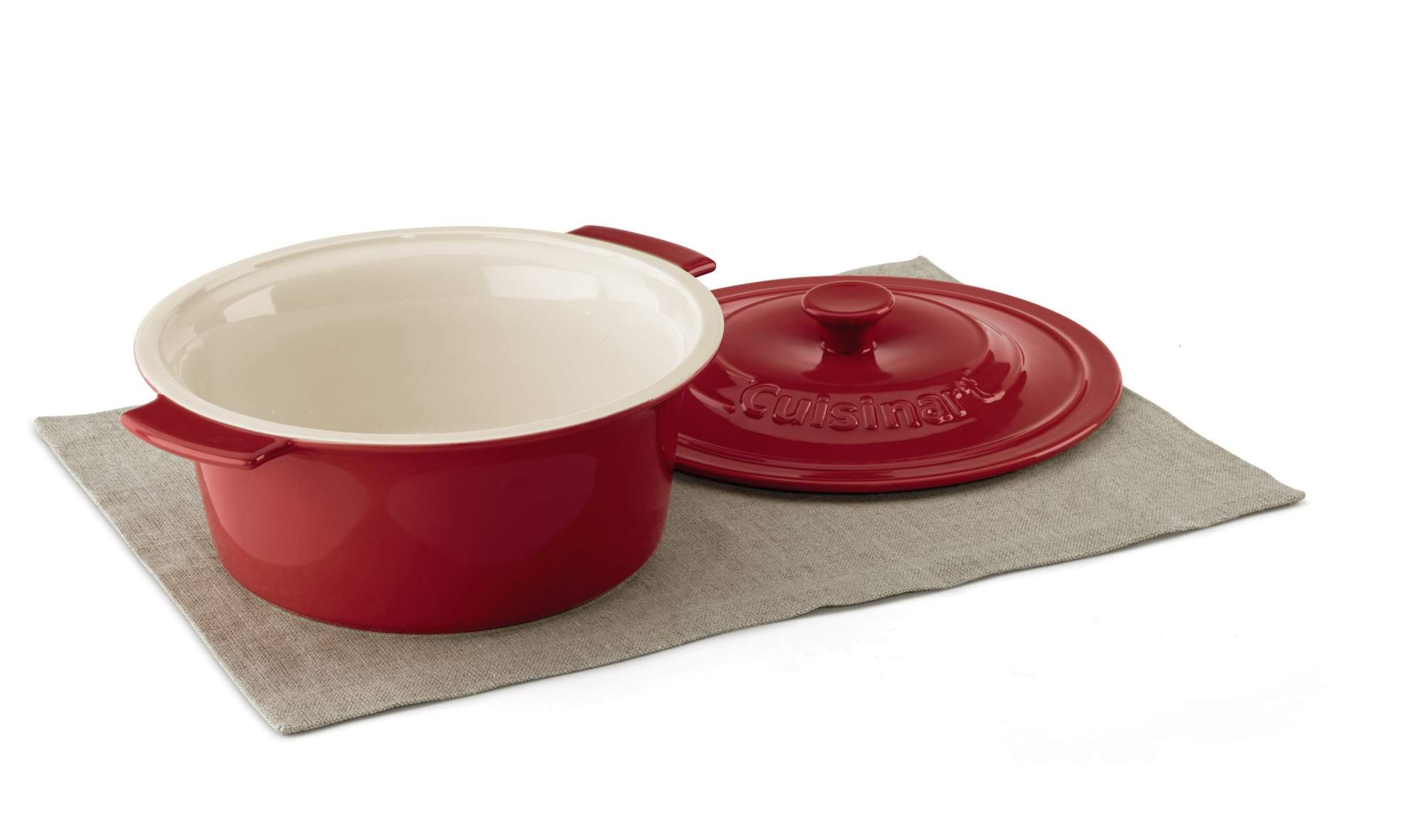 Cuisinart CCB630-25R Chef's Classic Ceramic Bakeware-3 Quart Round Covered Baker, Red