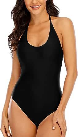 Halcurt Women's Halter One Piece Swimsuit Tie Bakc Lace Up Bathing Suit