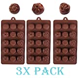 3 Pack X Sunflower and Rose Flower Ice Cube Chocolate Soap Tray Mold Silicone Party maker (Ships From USA)