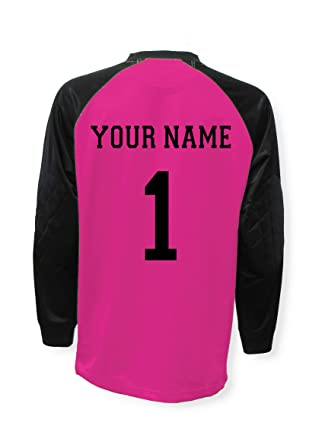 d9342afdaaf Soccer goalkeeper jersey personalized with your name and number - Raspberry  - size Adult Small