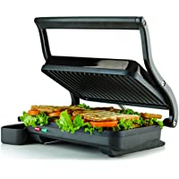 Ovente 2-Slice Electric Panini Press Grill and Gourmet Sandwich Maker with Auto Shut-Off, Drip Tray Included, (GP0620B), (Black)