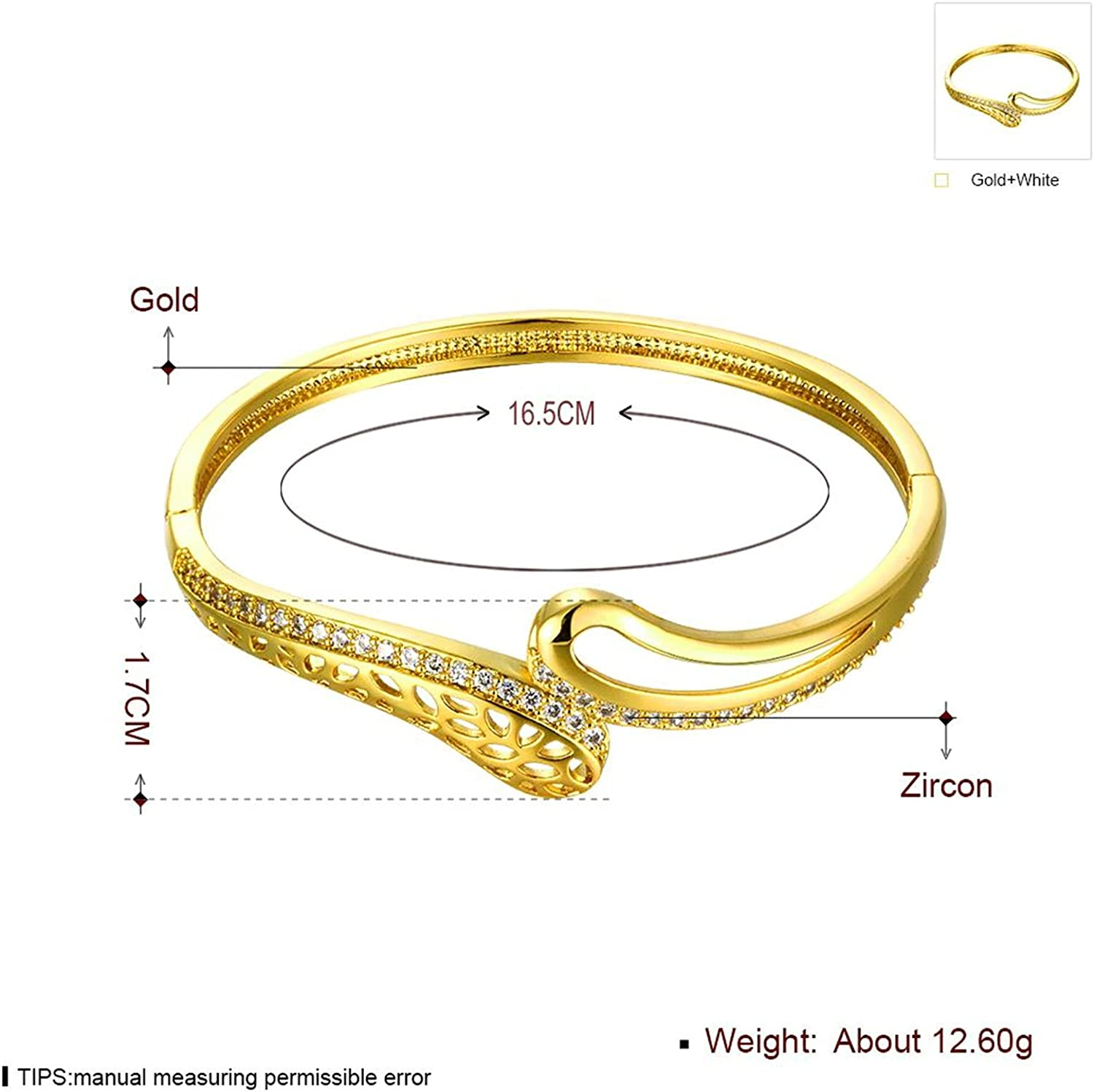 Gnzoe Fashion Jewelry Gold Plated Womens Charm Bracelet Bangle Cubic Zirconia Hollow Design Gold