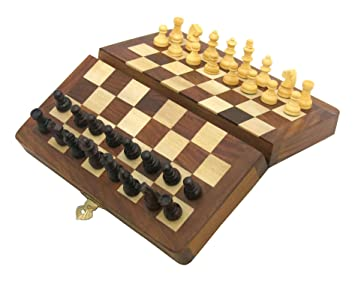 Ages Behind Wooden Folding Chess Board Small with Magnetic Pieces Travel Game (7x 7inches)