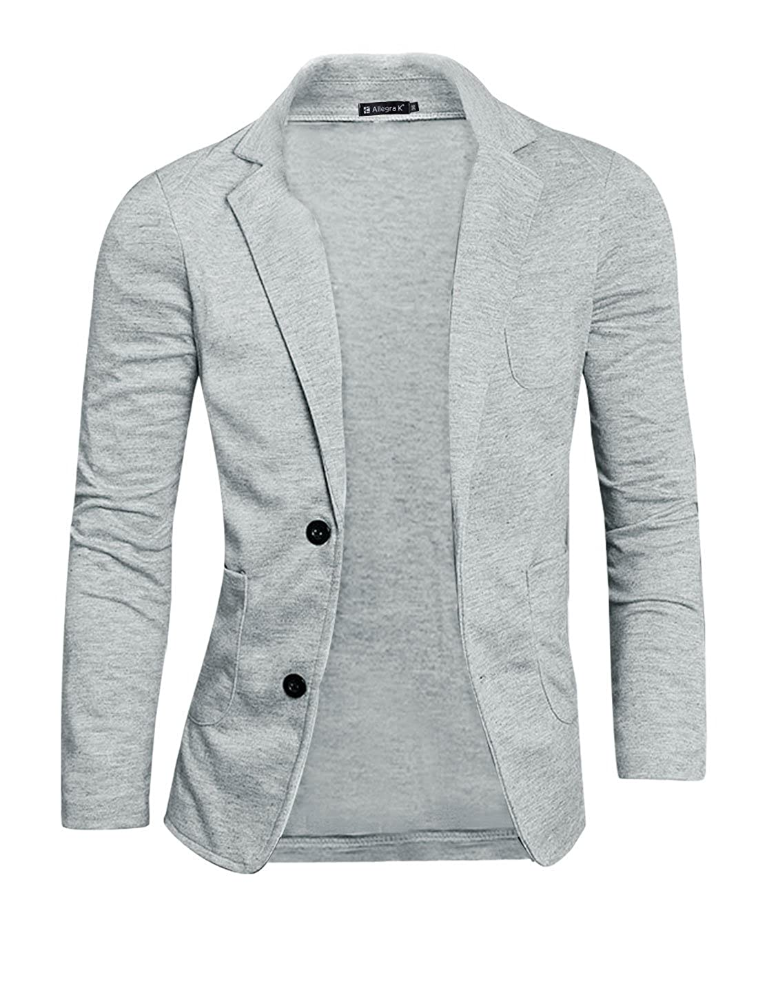 uxcell Men Notched Lapel Solid Color Pockets Front Long Sleeve Knit Blazer g12121200ux0517