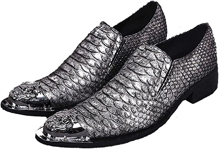 Cover Plus Size 5-12 Black Alligator Print Genuine Leather Dress Loafers Slip On Mens Shoes
