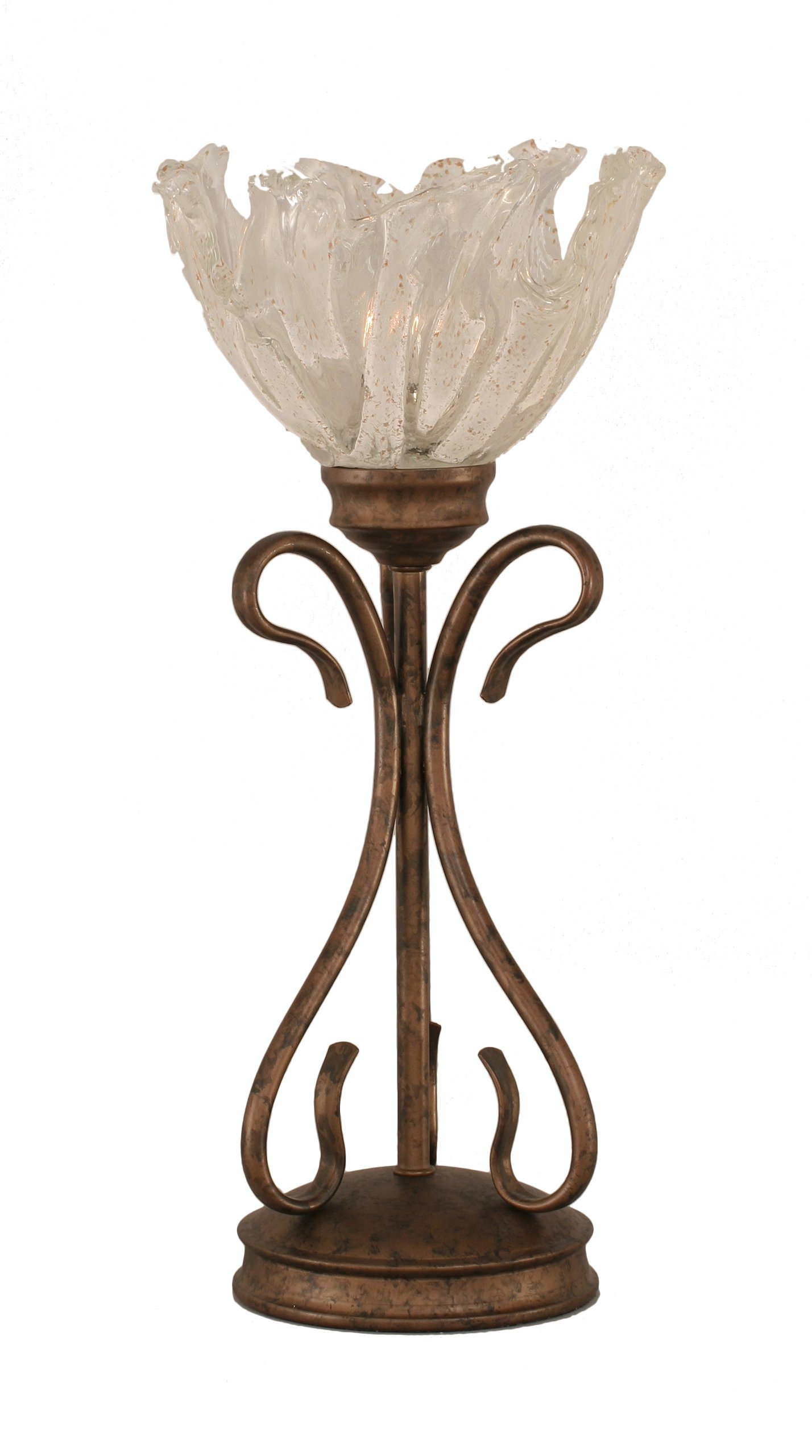 Toltec Lighting 31-BRZ-759 Swan One-Light Table Lamp Bronze Finish with Italian Ice Glass Shade, 7-Inch