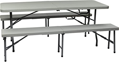 Portable 3-Piece Folding Picnic Table and Bench Set [Office Star] Picture