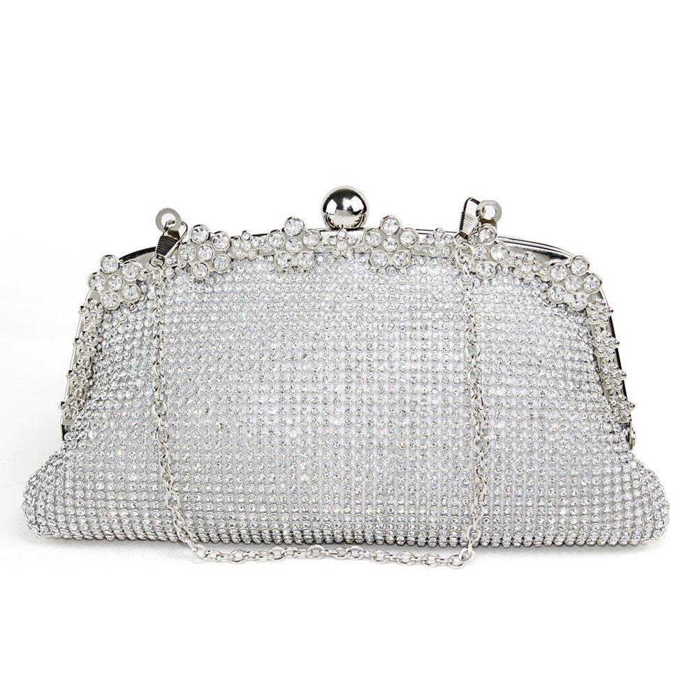 LUOEM Double-sided Sparkling Shinning Crystal Wedding Evening Clutch Purse Handbag (White)