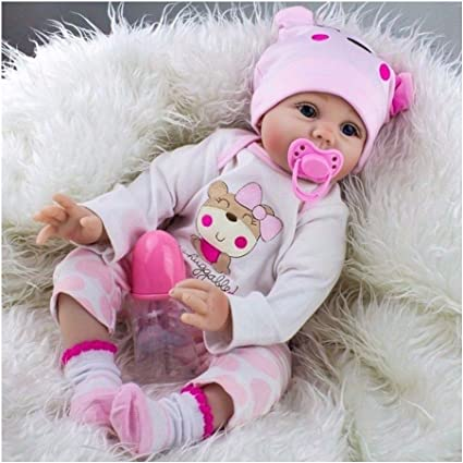 "Lifelike 22/"" Silicone Girl Baby Newborn Reborn Handmade Santa Infant Doll Vinyl"