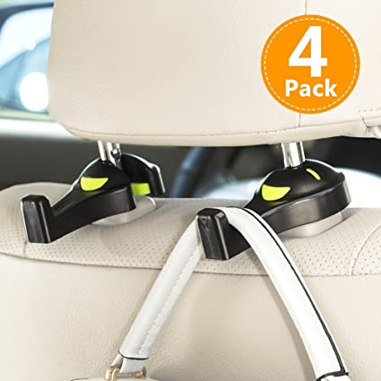 Latest Technology black 2pcs Creative Adjustable Car Seat Back Headrest Hooks Grocery Bag Hanger Holder For Car Seat Organizer