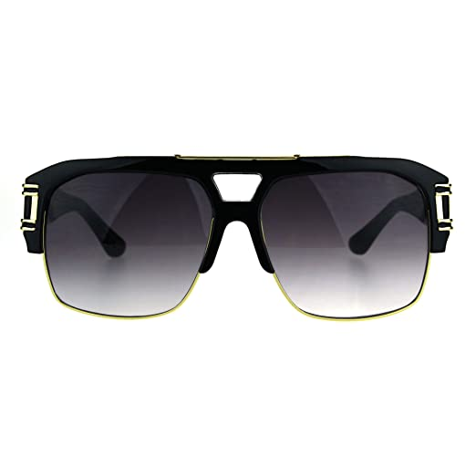 5212b7bb64dc Mens Mobster Half Rim Gradient Lens Mafia Racer Pilot Sunglasses White Gold  Smoke (black gold