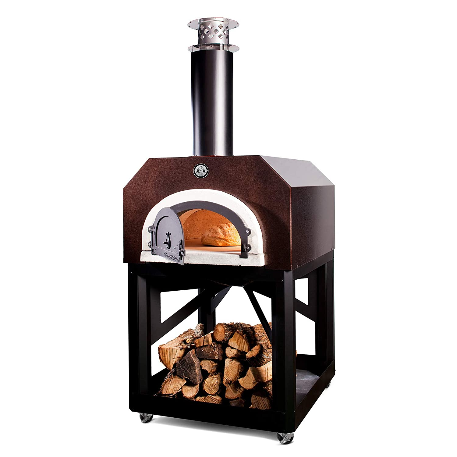 Chicago Brick Oven Wood-Burning Mobile Outdoor Pizza Oven, CBO-750 Mobile with Copper Vein Hood