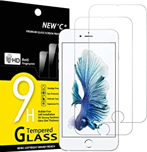 NEW'C 2 Unidades, Protector de Pantalla para iPhone 6 Plus y iPhone 6s Plus, Antiarañazo, Antihuella, Sin Burbujas, 9H, 0.33 mm Vidrio Templado Ultra Transparente y Resistente