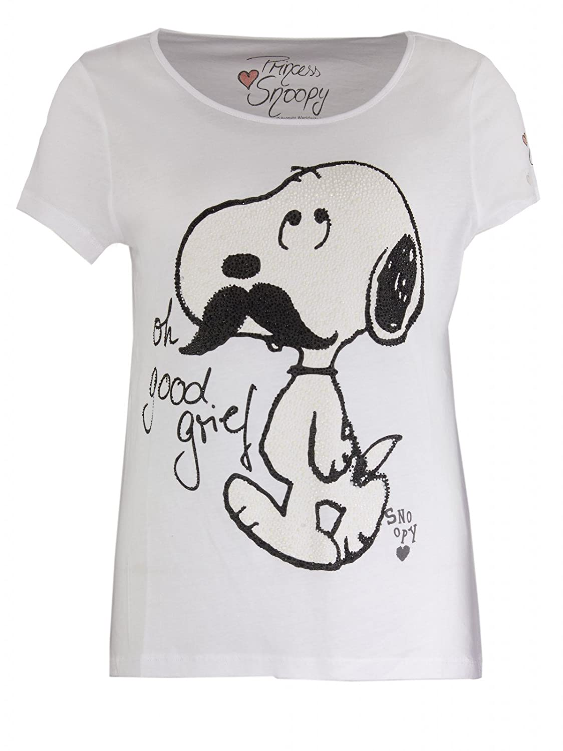 Princess goes Hollywood Damen Snoopy Moustache T-Shirt in Weiss
