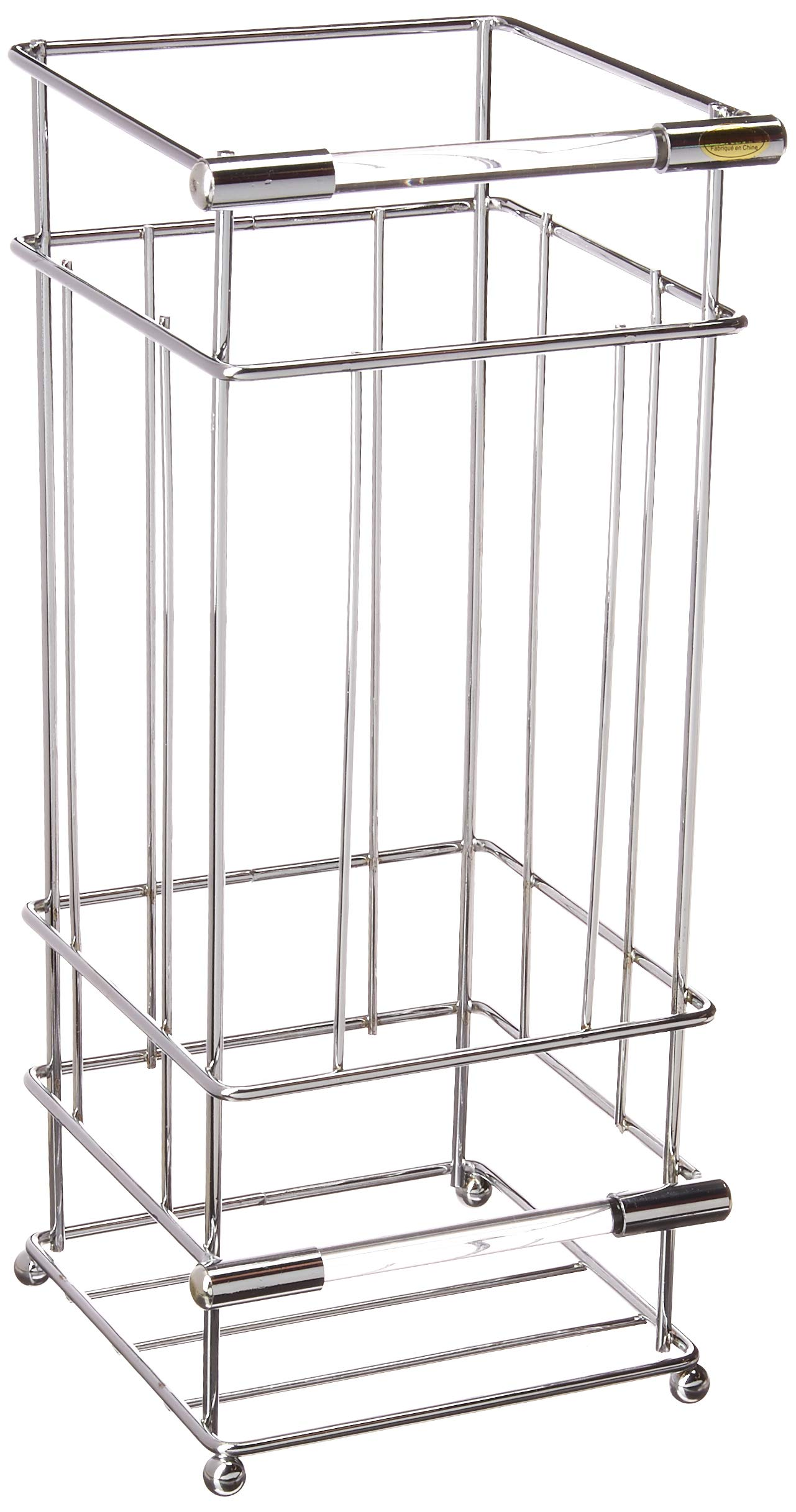 Richards Homewares Crystal Toilet Paper Reserve/Acrylic Storage Holder-Satin Nickel Finish-Square Design-Free Standing Modern and Contemporary Bathroom Space Saver, Chrome