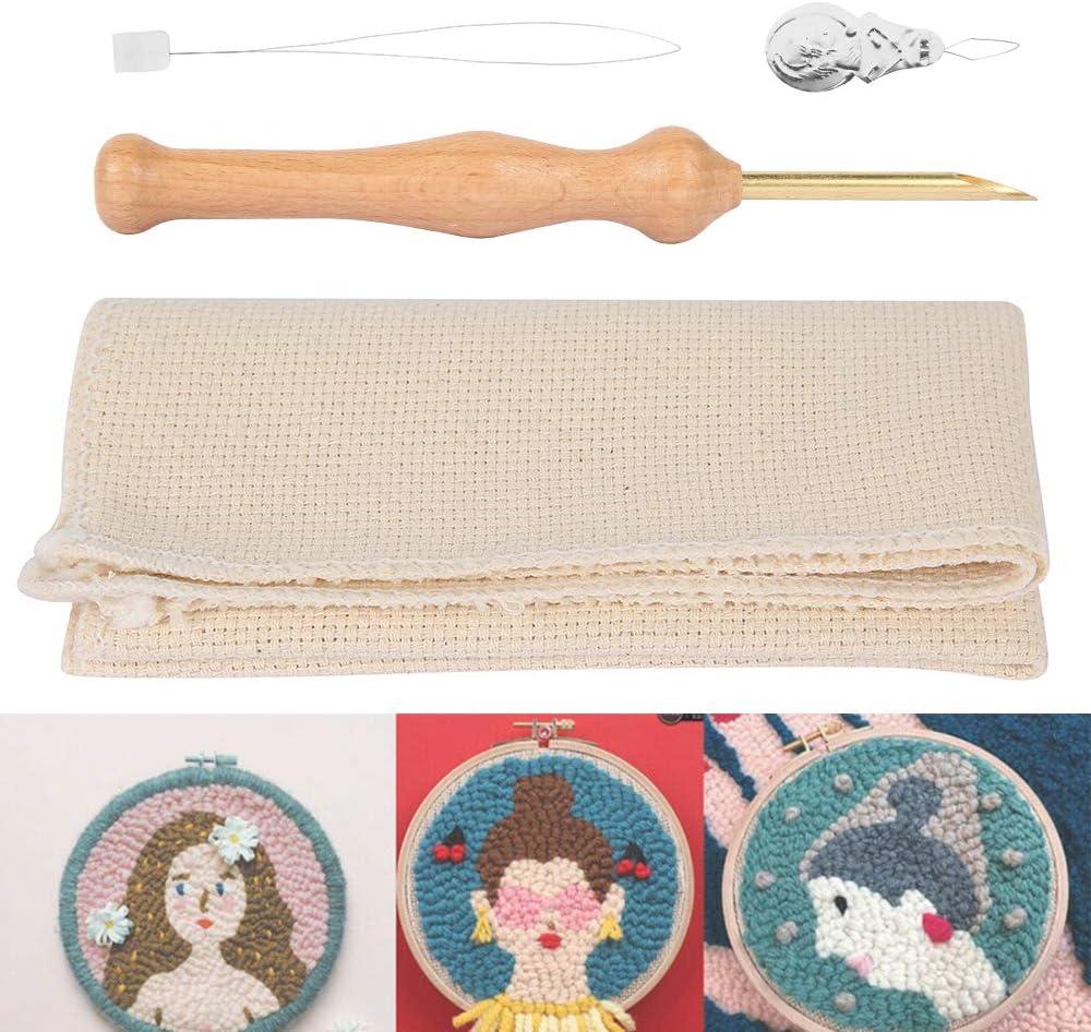 Liamostee Magische Stickerei Punch Nadel Filzen Threader Tuch Set Holzgriff Tischdecken Handwerk Werkzeuge DIY N/ähen