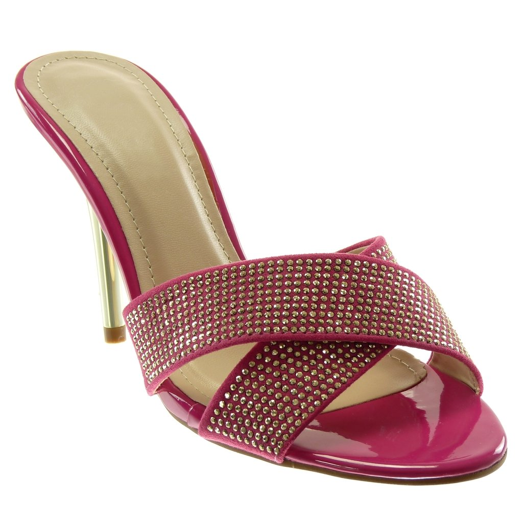 Chaussure Mode Mule Escarpin Stiletto Slip-on Chic Femme Strass Diamant Lani/ères crois/ées Talon Haut Aiguille 10.5 CM Angkorly