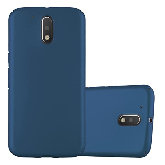 Cadorabo Case Works with Motorola Moto G4 / Moto G4 Plus in Metal Blue – Shockproof and Scratch Resistent Plastic Hard Cover – Ultra Slim Protective ...