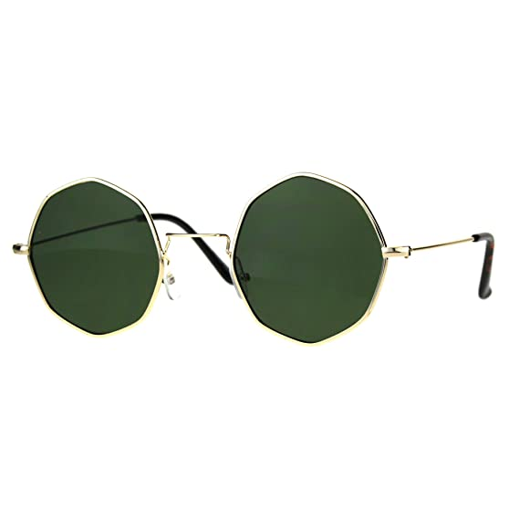 eff1ee938e Round Octagon Shape Sunglasses Thin Metal Frame Vintage Fashion Gold ...