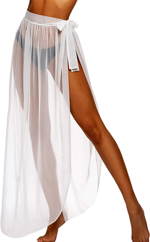 ADOME Women Beach Wrap Skirt Sheer Chiffon Bikini Cover Up S-XXL