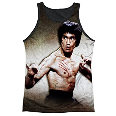 27ab8093105ba8 Bruce Lee Scratched Mens Tank Top Shirt with Black Back  Amazon.co.uk   Clothing