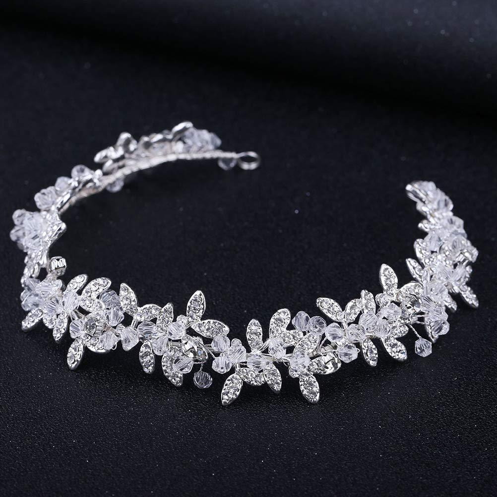 argento Cerchietto per capelli da sposa con strass Lurrose accessorio per abito da sposa