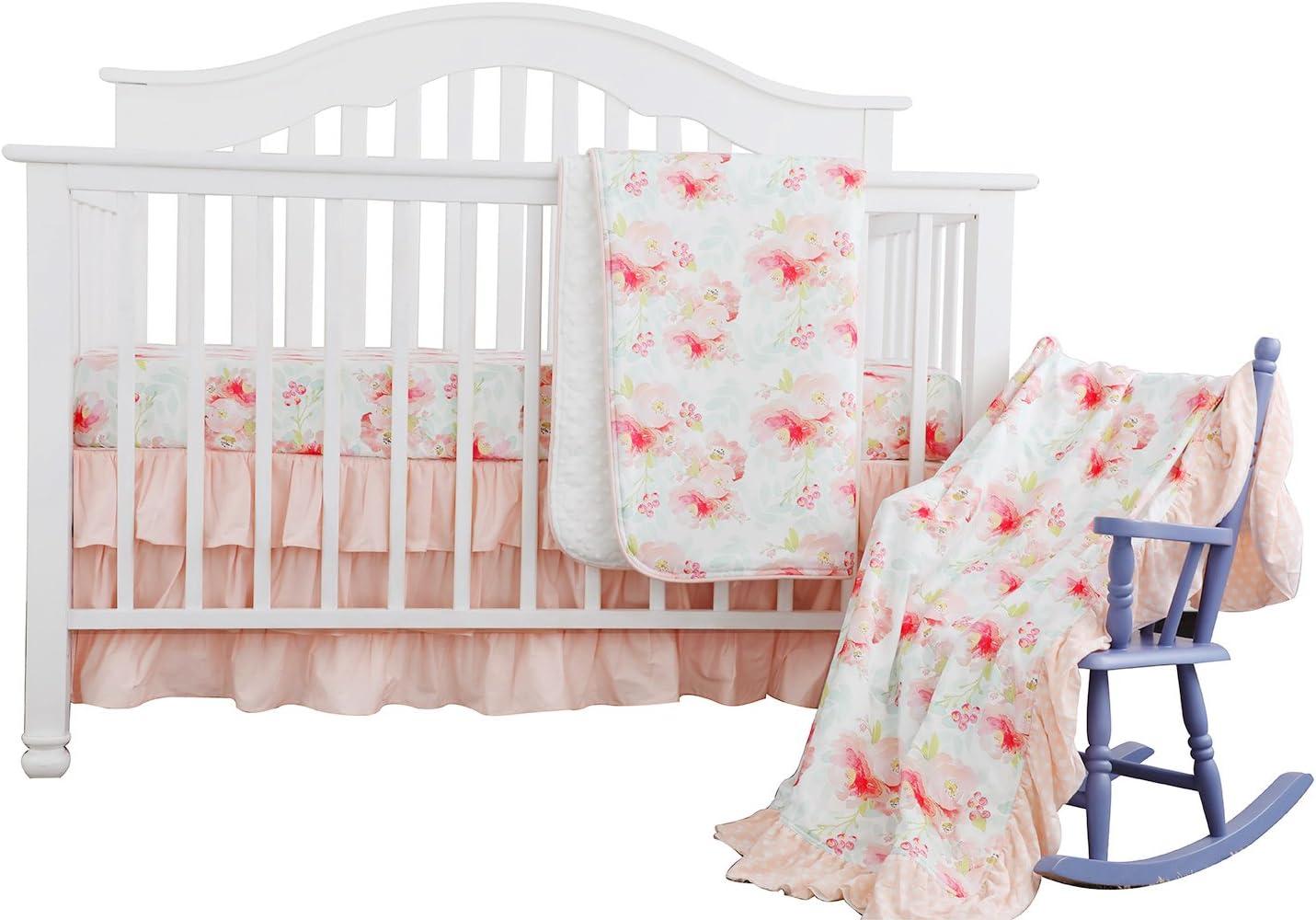 sahaler blush mint girls crib bedding set boho bohemian floral nursery baby bedding mini crib sheet floral ruffled crib skirt crib rail cover 3