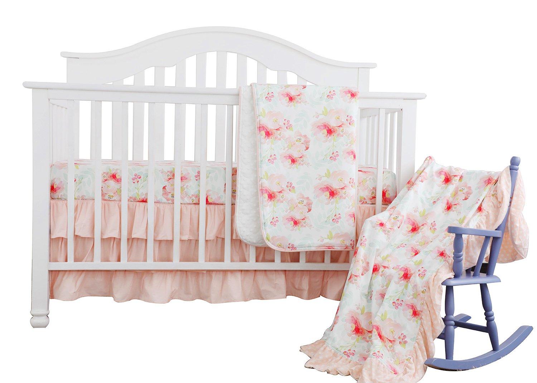 Sahaler Blush Mint Girls Crib Bedding Set Boho Bohemian Floral Nursery Baby Bedding Mini Crib Sheet Floral Ruffled Crib Skirt Crib Rail Cover (3 pieces set)